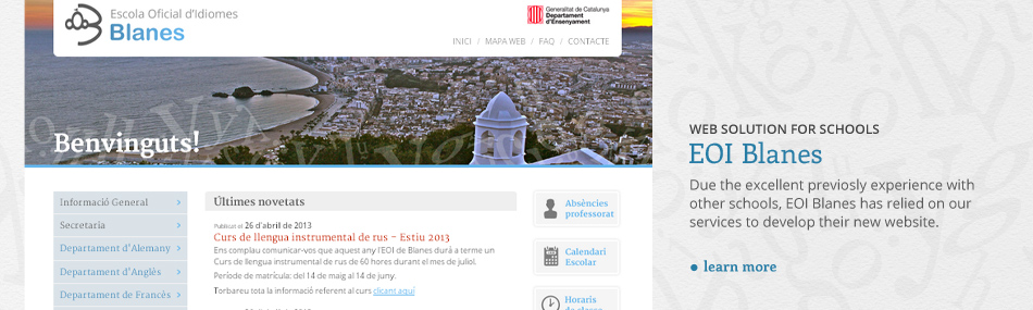 Website design and CMS for EOI Blanes